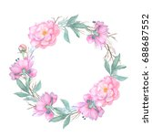 watercolor floral wreath... | Shutterstock . vector #688687552