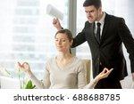 calm attractive businesswoman... | Shutterstock . vector #688688785