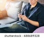 business man sitting play... | Shutterstock . vector #688689328