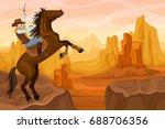 western scenery background | Shutterstock .eps vector #688706356