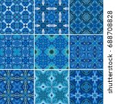 blue ornamental background in ... | Shutterstock . vector #688708828