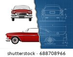 engineering blueprint of retro... | Shutterstock .eps vector #688708966