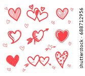 hand drawn grunge hearts set ... | Shutterstock .eps vector #688712956
