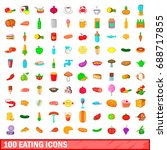 100 eating icons set in cartoon ... | Shutterstock . vector #688717855