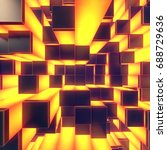 abstract yellow glowing cubes... | Shutterstock . vector #688729636