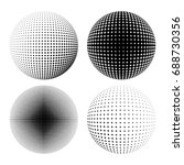 set of abstract round 3d black... | Shutterstock .eps vector #688730356