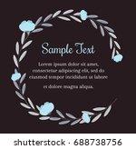 wreath of blue flowers in... | Shutterstock . vector #688738756