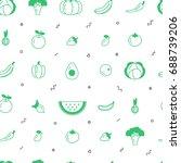 fruit and vegetable vector... | Shutterstock .eps vector #688739206