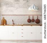mockup interior kitchen in loft ...   Shutterstock . vector #688746085