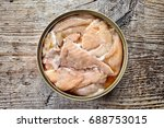 open tin can  canned salmon  on ... | Shutterstock . vector #688753015