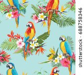 tropical flowers and parrot... | Shutterstock .eps vector #688758346