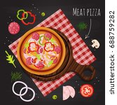 meat pizza on the background of ... | Shutterstock .eps vector #688759282