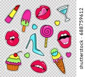 fashion patch badges with lips  ... | Shutterstock .eps vector #688759612