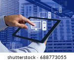 digital composite of holding... | Shutterstock . vector #688773055