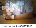 male hand using digital... | Shutterstock . vector #688774015