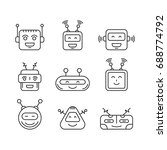 set chat bot vector icon faces... | Shutterstock .eps vector #688774792