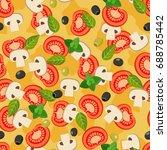 pizza seamless pattern.... | Shutterstock .eps vector #688785442