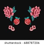 flowers embroidery | Shutterstock .eps vector #688787206