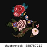 flowers embroidery | Shutterstock .eps vector #688787212
