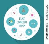 flat icons couple  calendar ... | Shutterstock .eps vector #688788622