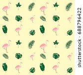 tropical leaves and flamingo... | Shutterstock .eps vector #688796422