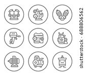 set round line icons of motor... | Shutterstock .eps vector #688806562