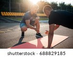 fitness outdoor workout with... | Shutterstock . vector #688829185