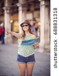 beautiful tourist woman is... | Shutterstock . vector #688831318