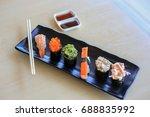 sushi rice mold wasabi japanese ... | Shutterstock . vector #688835992