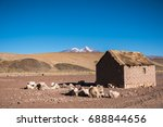 Small photo of Small house in remote area of Altiplano. Mountains of Altiplano, Bolivia, South America