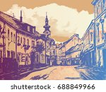 the street of the european old... | Shutterstock .eps vector #688849966