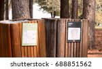 garbage bin next to a recycle...   Shutterstock . vector #688851562