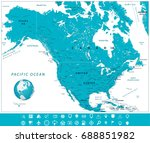 north america map and... | Shutterstock .eps vector #688851982