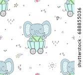 hand drawn seamless pattern... | Shutterstock .eps vector #688855036