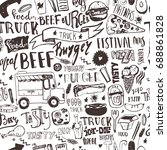 fast food truck seamless... | Shutterstock .eps vector #688861828