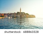 view on rovinj old town in...   Shutterstock . vector #688863328