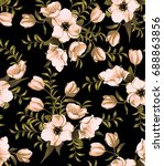 seamless pattern with hand... | Shutterstock . vector #688863856