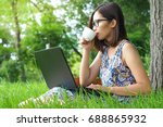 pretty young female sitting on... | Shutterstock . vector #688865932