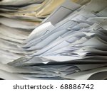 front of Layer of old document horizontal - stock photo