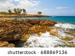 rocks on shore of sea near... | Shutterstock . vector #688869136
