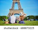 romantic couple having picnic... | Shutterstock . vector #688873225
