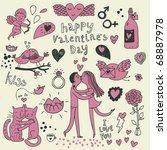 vector valentine doodles set | Shutterstock .eps vector #68887978
