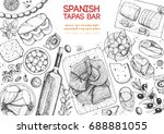 spanish cuisine top view frame. ... | Shutterstock .eps vector #688881055