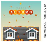 hello autumn background with a... | Shutterstock .eps vector #688887712