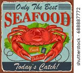 vintage seafood metal sign. | Shutterstock .eps vector #688887772