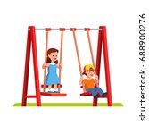 happy little boy   girl... | Shutterstock .eps vector #688900276