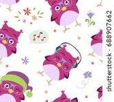 vector cartoon style blue owl... | Shutterstock .eps vector #688907662
