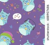 vector cartoon style blue owl... | Shutterstock .eps vector #688907686