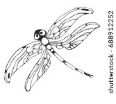 dragon fly silhouette. cartoon ... | Shutterstock . vector #688912252
