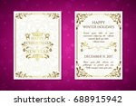 christmas posters with golden... | Shutterstock .eps vector #688915942